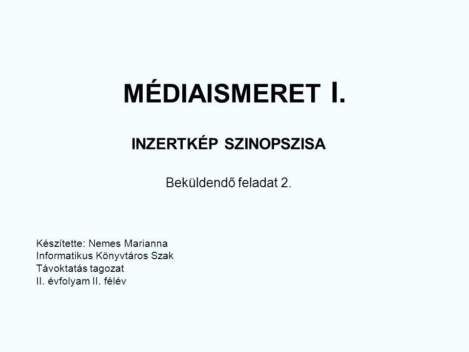 MÉDIAISMERET I. INZERTKÉP SZINOPSZISA Beküldendő feladat 2.