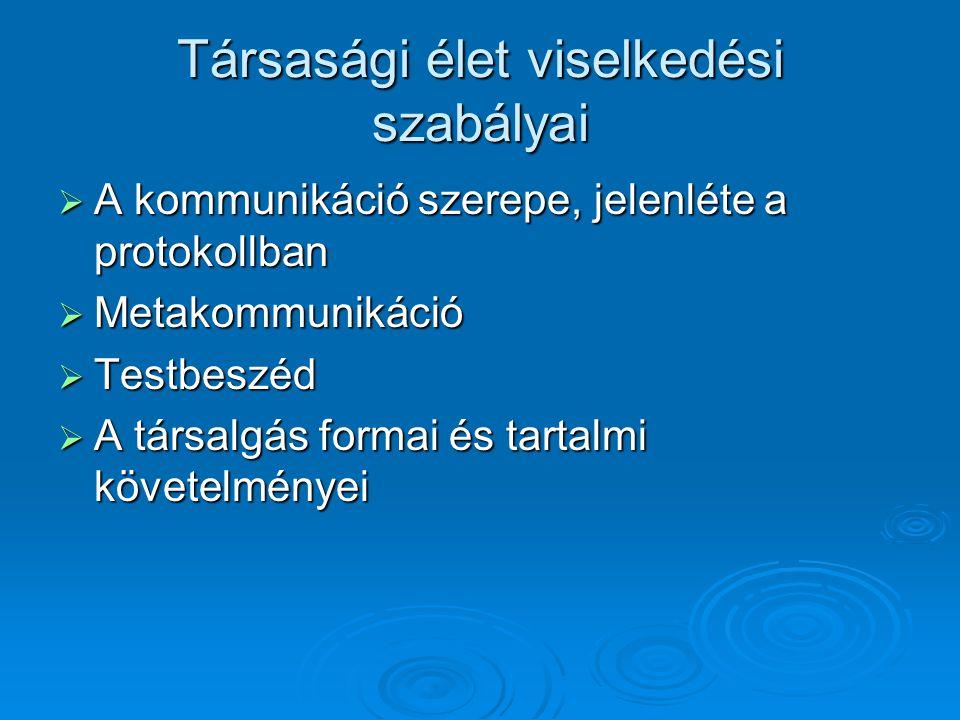 Társasági élet viselkedési szabályai  A kommunikáció szerepe, jelenléte a protokollban  Metakommunikáció  Testbeszéd  A társalgás formai és tartal