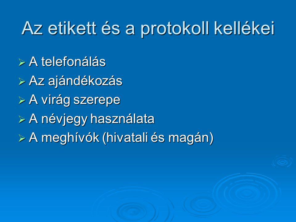 Az etikett és a protokoll kellékei  A telefonálás  Az ajándékozás  A virág szerepe  A névjegy használata  A meghívók (hivatali és magán)
