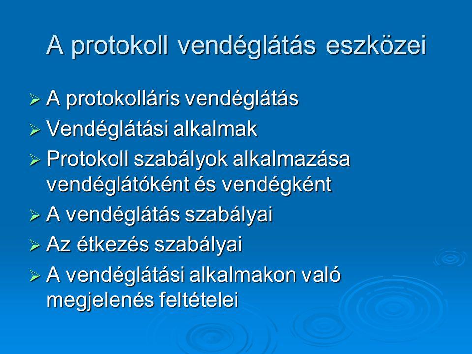 A protokoll vendéglátás eszközei  A protokolláris vendéglátás  Vendéglátási alkalmak  Protokoll szabályok alkalmazása vendéglátóként és vendégként