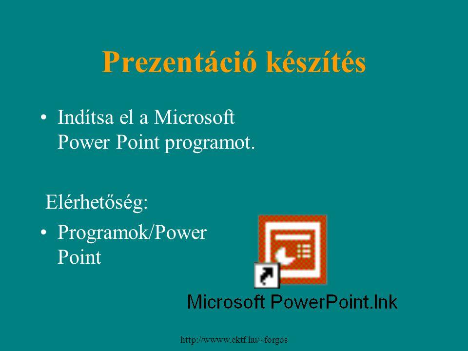 http://wwww.ektf.hu/~forgos Prezentáció készítés Indítsa el a Microsoft Power Point programot. Elérhetőség: Programok/Power Point