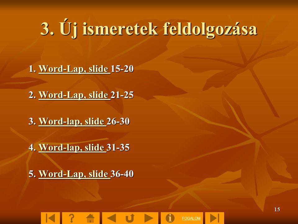 FOGALOM 15 3. Új ismeretek feldolgozása 1. Word-Lap, slide 15-20 Word-Lap, slide Word-Lap, slide 2. Word-Lap, slide 21-25 Word-Lap, slide Word-Lap, sl