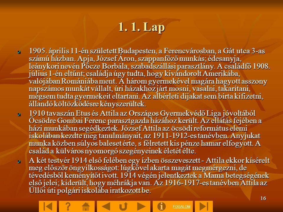 FOGALOM 16 1. 1. Lap 1905. április 11-én született Budapesten, a Ferencvárosban, a Gát utca 3-as számú házban. Apja, József Áron, szappanfőző munkás;