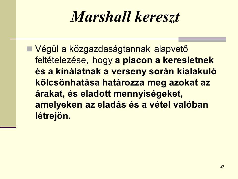 Marshall kereszt Végül a közgazdaságtannak alapvető feltételezése, hogy a piacon a keresletnek és a kínálatnak a verseny során kialakuló kölcsönhatása határozza meg azokat az árakat, és eladott mennyiségeket, amelyeken az eladás és a vétel valóban létrejön.