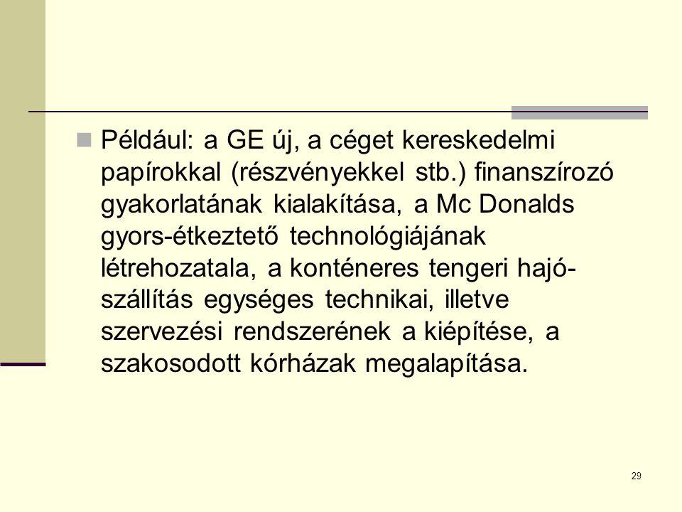 Például: a GE új, a céget kereskedelmi papírokkal (részvényekkel stb.) finanszírozó gyakorlatának kialakítása, a Mc Donalds gyors-étkeztető technológi