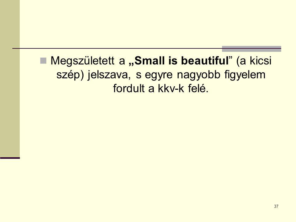 """Megszületett a """"Small is beautiful"""" (a kicsi szép) jelszava, s egyre nagyobb figyelem fordult a kkv-k felé. 37"""