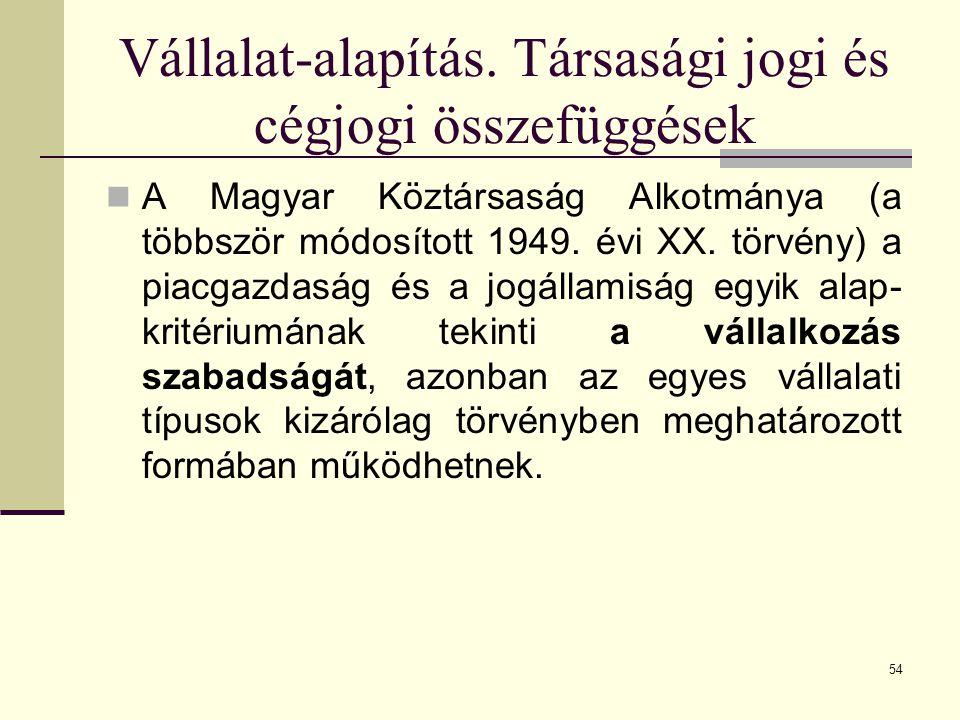 Vállalat-alapítás. Társasági jogi és cégjogi összefüggések A Magyar Köztársaság Alkotmánya (a többször módosított 1949. évi XX. törvény) a piacgazdasá