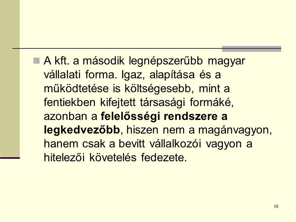 A kft. a második legnépszerűbb magyar vállalati forma. Igaz, alapítása és a működtetése is költségesebb, mint a fentiekben kifejtett társasági formáké