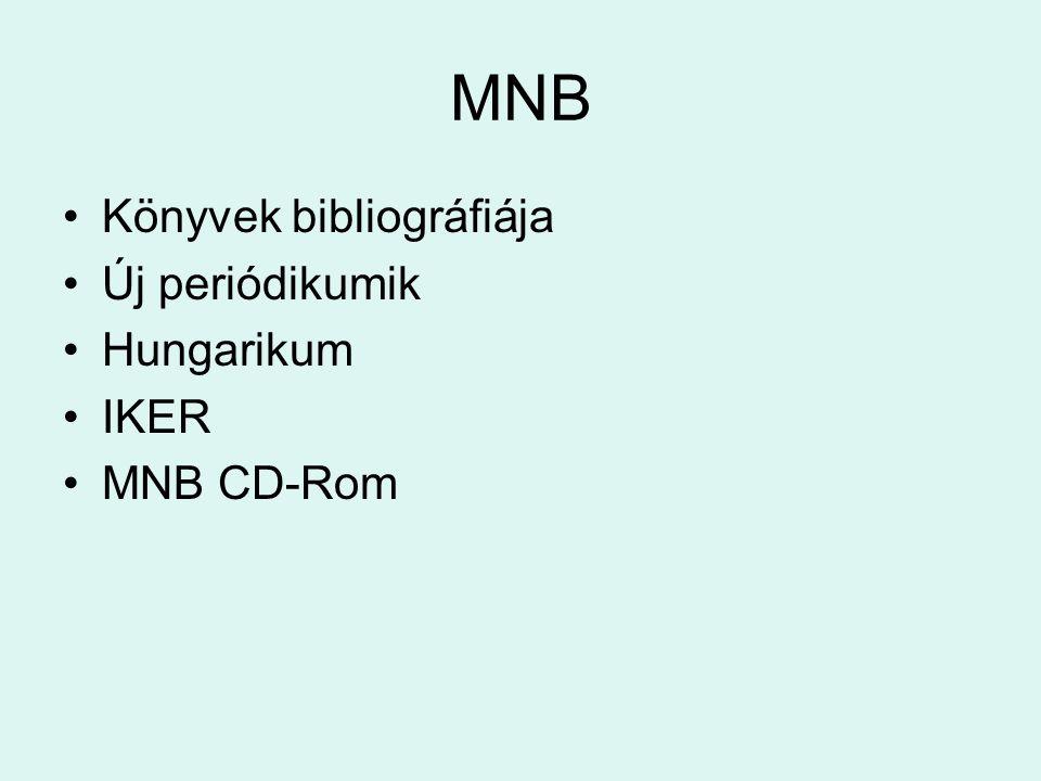 MNB Könyvek bibliográfiája Új periódikumik Hungarikum IKER MNB CD-Rom