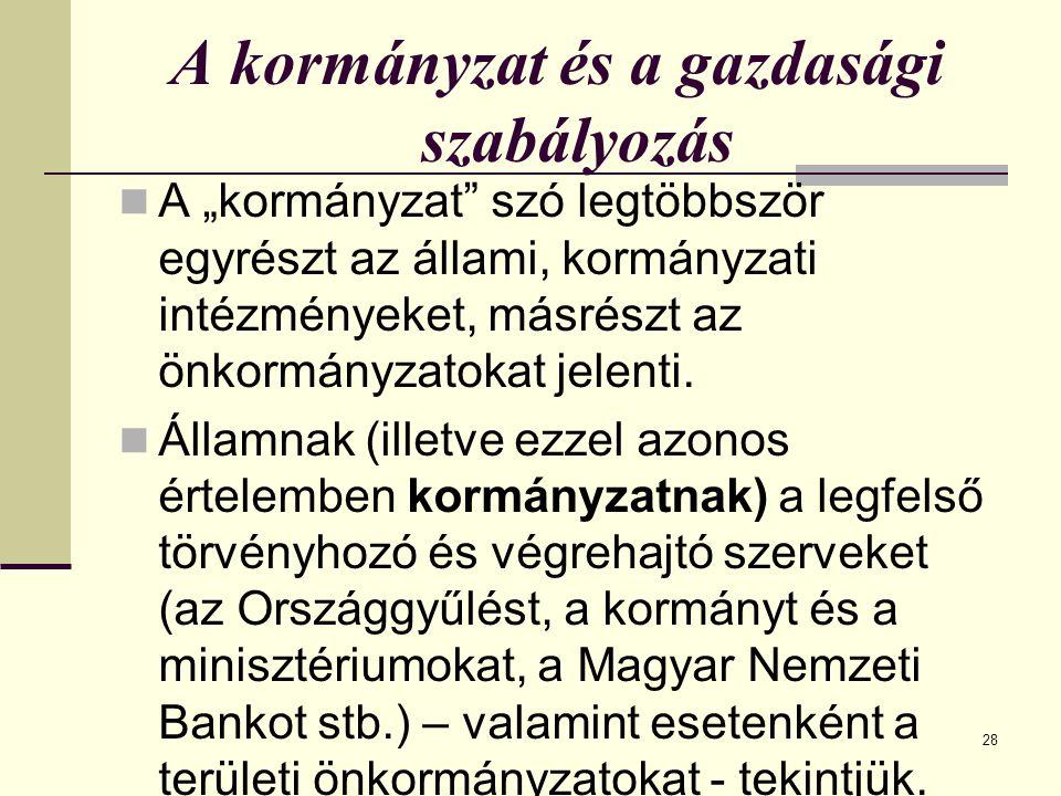 """28 A kormányzat és a gazdasági szabályozás A """"kormányzat szó legtöbbször egyrészt az állami, kormányzati intézményeket, másrészt az önkormányzatokat jelenti."""