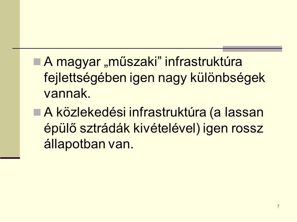 """7 A magyar """"műszaki infrastruktúra fejlettségében igen nagy különbségek vannak."""
