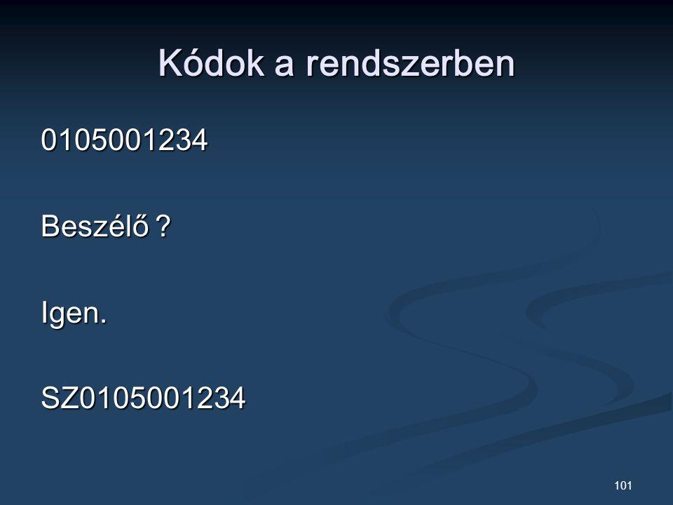 101 Kódok a rendszerben 0105001234 Beszélő ? Igen.SZ0105001234