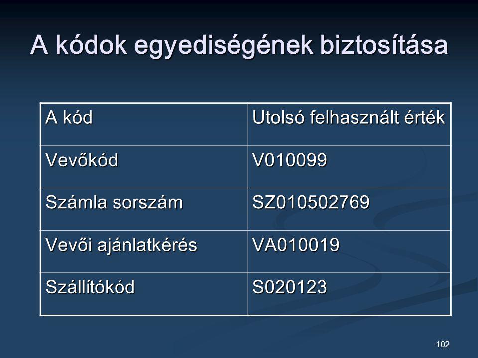 102 A kódok egyediségének biztosítása A kód Utolsó felhasznált érték VevőkódV010099 Számla sorszám SZ010502769 Vevői ajánlatkérés VA010019 SzállítókódS020123