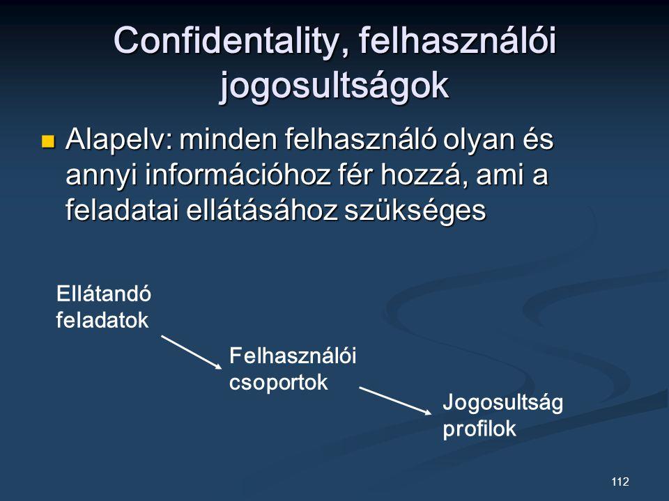 112 Confidentality, felhasználói jogosultságok Alapelv: minden felhasználó olyan és annyi információhoz fér hozzá, ami a feladatai ellátásához szükséges Alapelv: minden felhasználó olyan és annyi információhoz fér hozzá, ami a feladatai ellátásához szükséges Ellátandó feladatok Felhasználói csoportok Jogosultság profilok