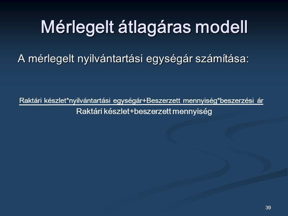 39 Mérlegelt átlagáras modell A mérlegelt nyilvántartási egységár számítása: Raktári készlet*nyilvántartási egységár+Beszerzett mennyiség*beszerzési ár Raktári készlet+beszerzett mennyiség