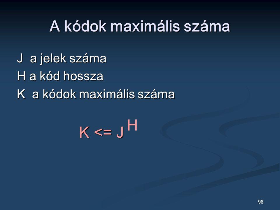 96 A kódok maximális száma J a jelek száma H a kód hossza K a kódok maximális száma K <= J K <= J H