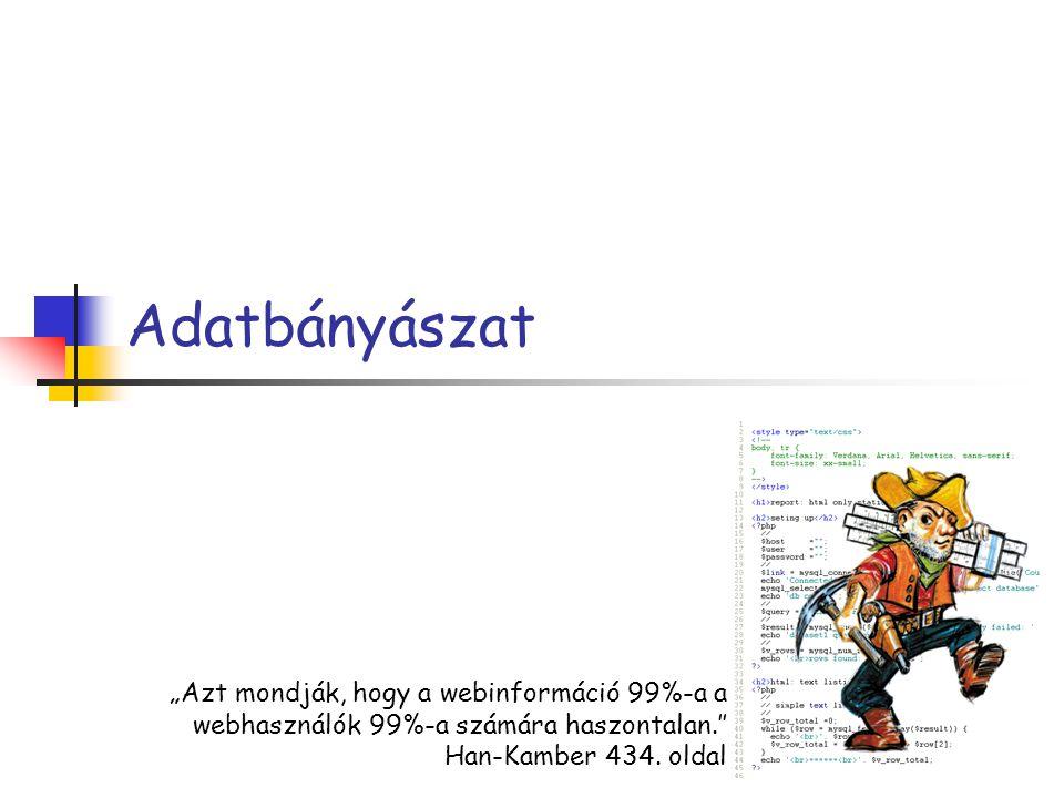 """Adatbányászat """"Azt mondják, hogy a webinformáció 99%-a a webhasználók 99%-a számára haszontalan.″ Han-Kamber 434. oldal"""