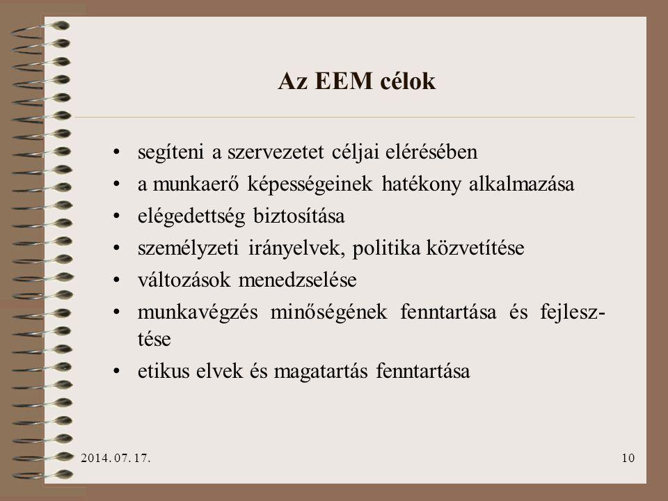 2014. 07. 17.10 Az EEM célok segíteni a szervezetet céljai elérésében a munkaerő képességeinek hatékony alkalmazása elégedettség biztosítása személyze