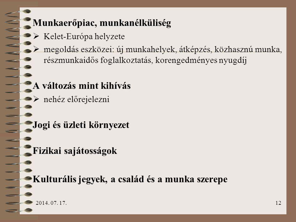 2014. 07. 17.12 Munkaerőpiac, munkanélküliség  Kelet-Európa helyzete  megoldás eszközei: új munkahelyek, átképzés, közhasznú munka, részmunkaidős fo