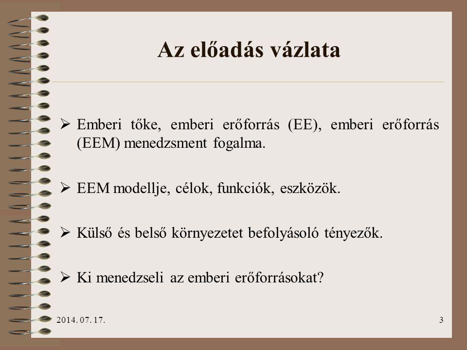 2014. 07. 17.3 Az előadás vázlata  Emberi tőke, emberi erőforrás (EE), emberi erőforrás (EEM) menedzsment fogalma.  EEM modellje, célok, funkciók, e