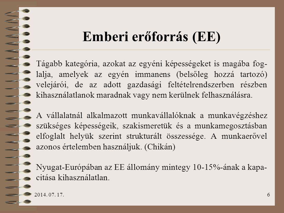 2014. 07. 17.6 Emberi erőforrás (EE) Tágabb kategória, azokat az egyéni képességeket is magába fog- lalja, amelyek az egyén immanens (belsőleg hozzá t