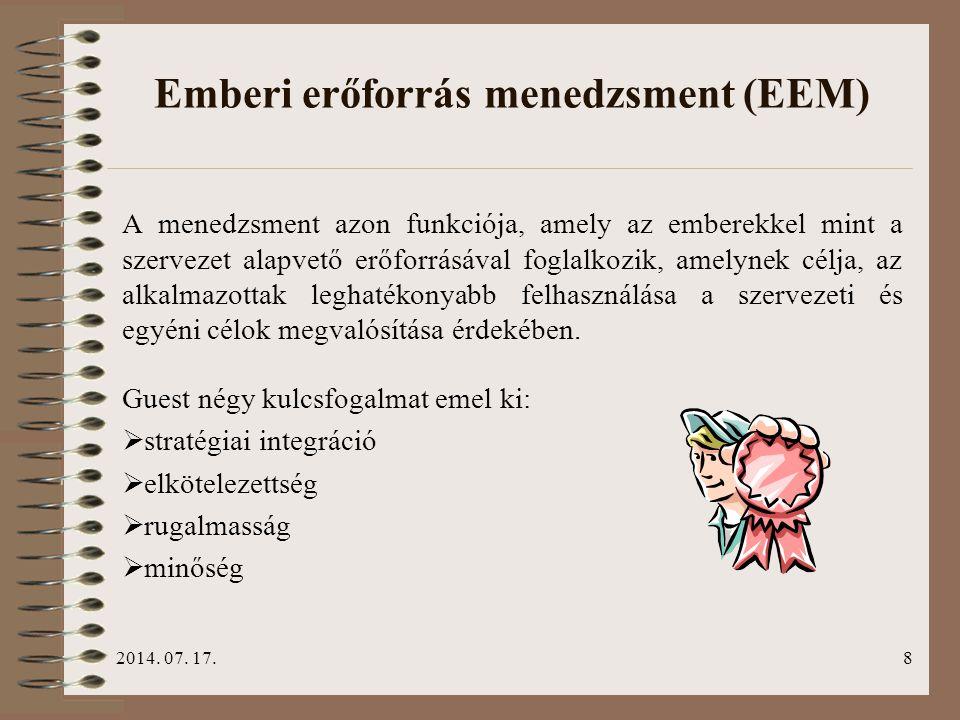 2014. 07. 17.8 Emberi erőforrás menedzsment (EEM) A menedzsment azon funkciója, amely az emberekkel mint a szervezet alapvető erőforrásával foglalkozi