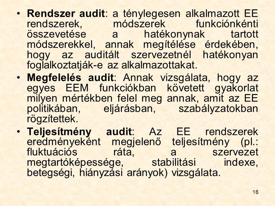 16 Rendszer audit: a ténylegesen alkalmazott EE rendszerek, módszerek funkciónkénti összevetése a hatékonynak tartott módszerekkel, annak megítélése é