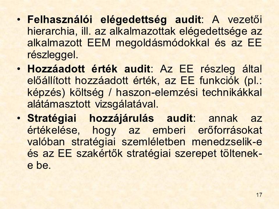 17 Felhasználói elégedettség audit: A vezetői hierarchia, ill. az alkalmazottak elégedettsége az alkalmazott EEM megoldásmódokkal és az EE részleggel.