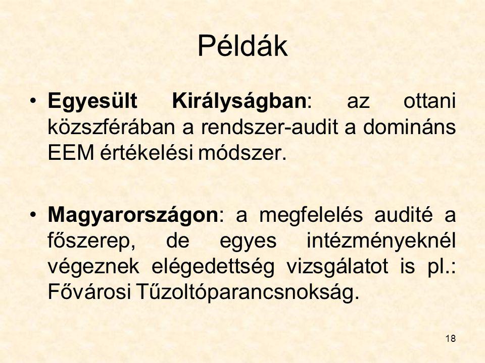 18 Példák Egyesült Királyságban: az ottani közszférában a rendszer-audit a domináns EEM értékelési módszer. Magyarországon: a megfelelés audité a fősz