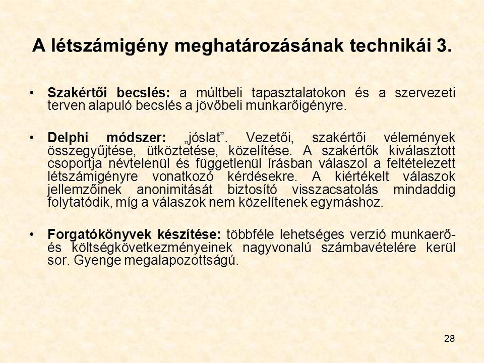 28 A létszámigény meghatározásának technikái 3. Szakértői becslés: a múltbeli tapasztalatokon és a szervezeti terven alapuló becslés a jövőbeli munkar