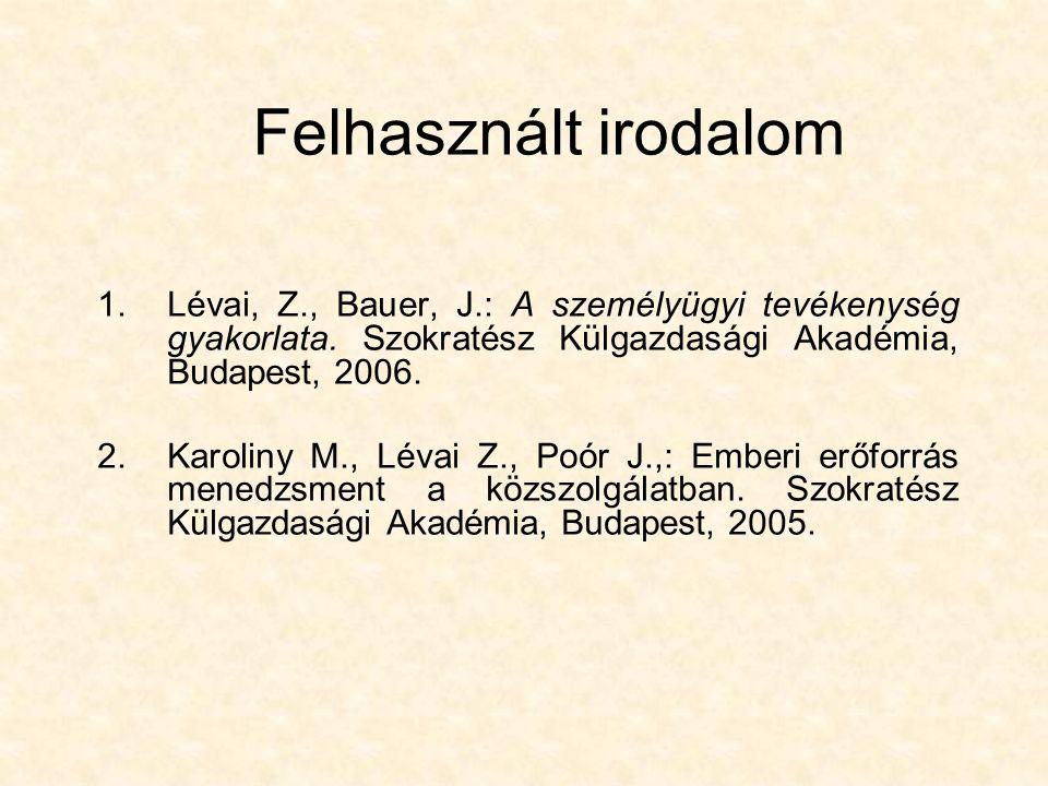 Felhasznált irodalom 1.Lévai, Z., Bauer, J.: A személyügyi tevékenység gyakorlata. Szokratész Külgazdasági Akadémia, Budapest, 2006. 2.Karoliny M., Lé