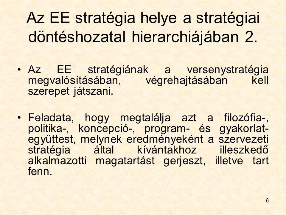 6 Az EE stratégia helye a stratégiai döntéshozatal hierarchiájában 2. Az EE stratégiának a versenystratégia megvalósításában, végrehajtásában kell sze