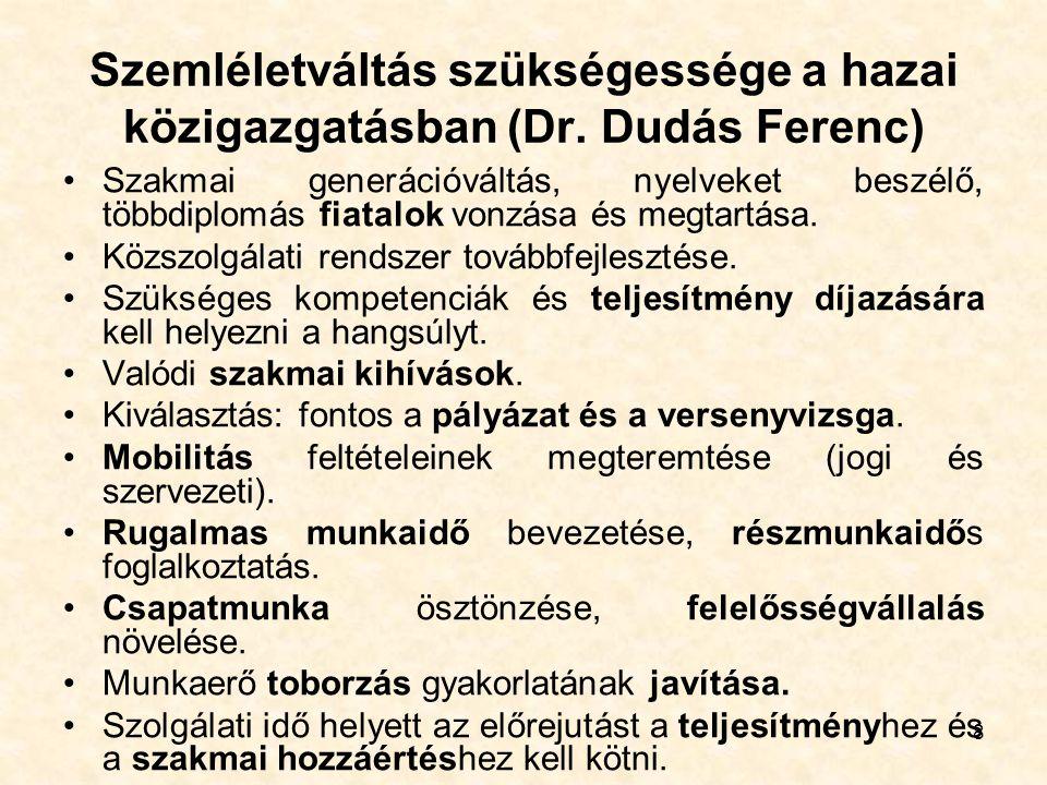 8 Szemléletváltás szükségessége a hazai közigazgatásban (Dr. Dudás Ferenc) Szakmai generációváltás, nyelveket beszélő, többdiplomás fiatalok vonzása é