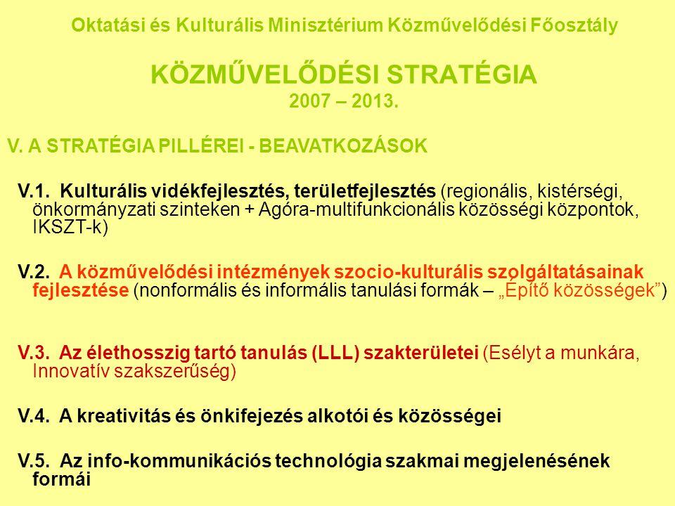 Oktatási és Kulturális Minisztérium Közművelődési Főosztály KÖZMŰVELŐDÉSI STRATÉGIA 2007 – 2013. V. A STRATÉGIA PILLÉREI - BEAVATKOZÁSOK V.1. Kulturál