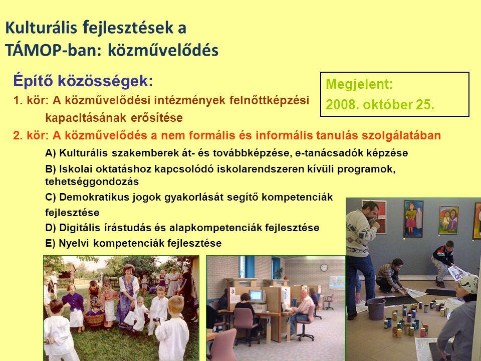 Építő közösségek: 1. kör: A közművelődési intézmények felnőttképzési kapacitásának erősítése 2. kör: A közművelődés a nem formális és informális tanul