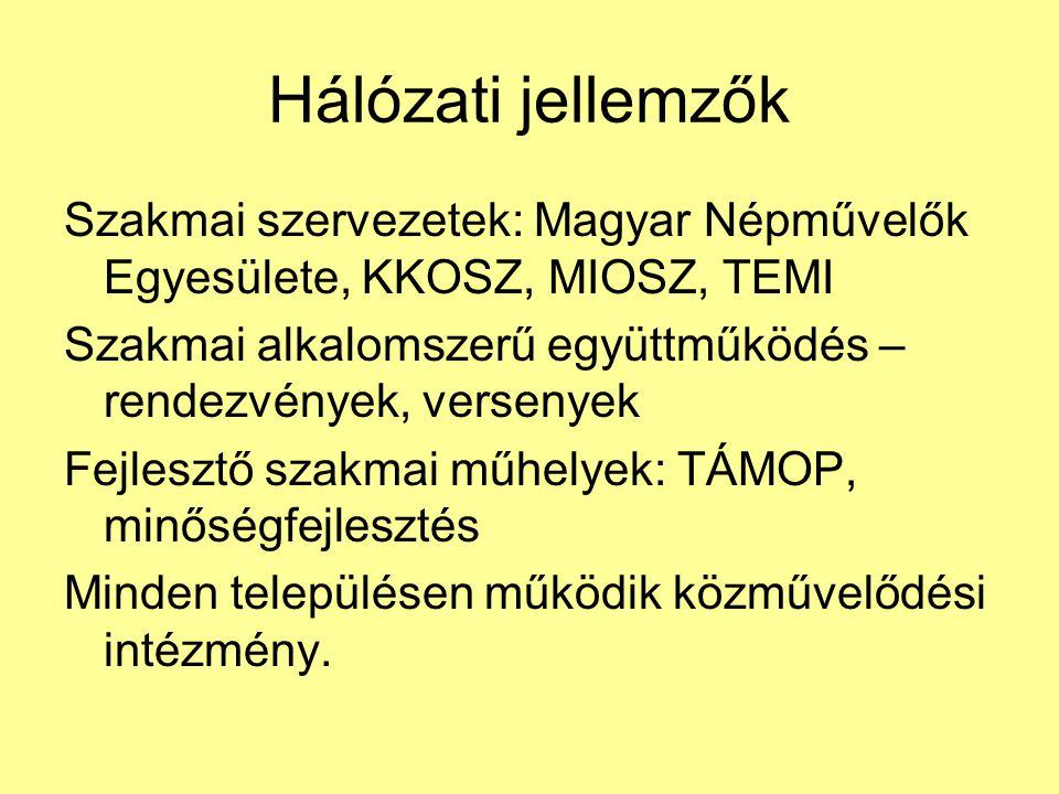 Hálózati jellemzők Szakmai szervezetek: Magyar Népművelők Egyesülete, KKOSZ, MIOSZ, TEMI Szakmai alkalomszerű együttműködés – rendezvények, versenyek