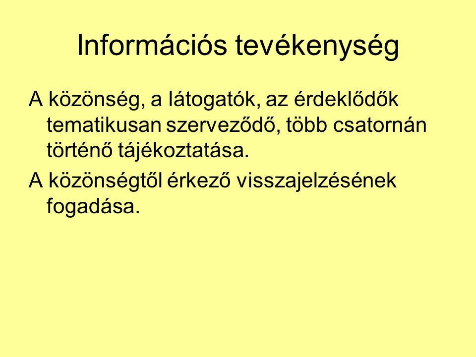 Információs tevékenység A közönség, a látogatók, az érdeklődők tematikusan szerveződő, több csatornán történő tájékoztatása. A közönségtől érkező viss