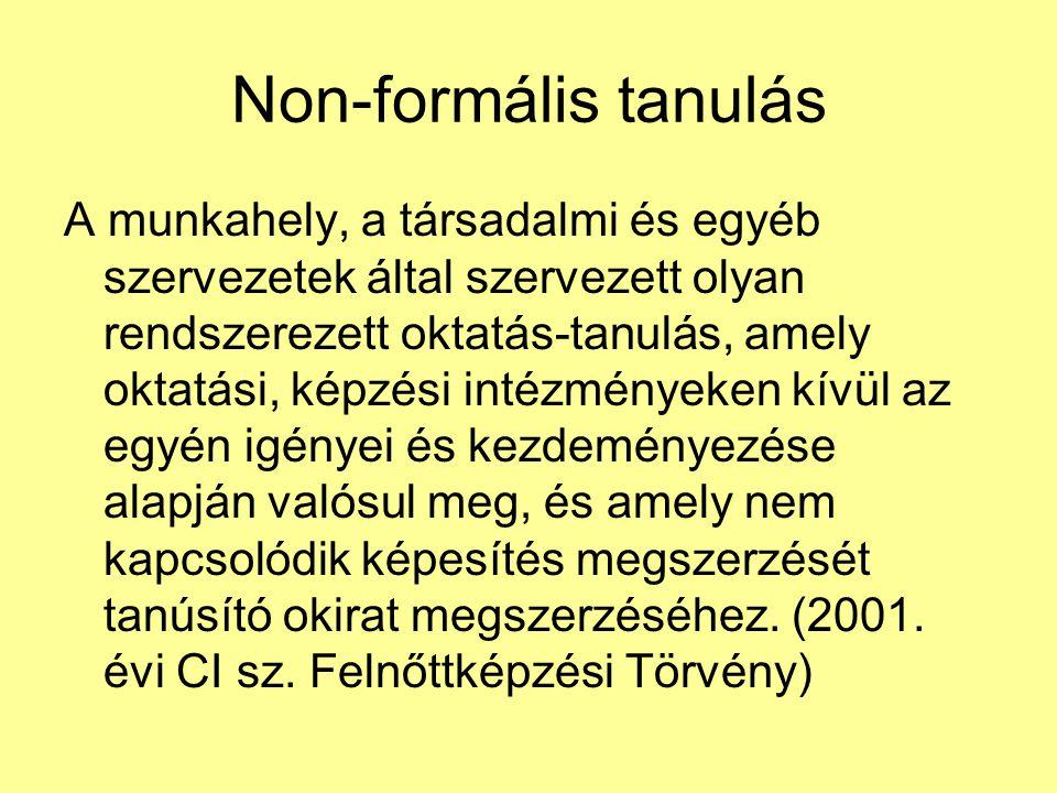 Non-formális tanulás A munkahely, a társadalmi és egyéb szervezetek által szervezett olyan rendszerezett oktatás-tanulás, amely oktatási, képzési inté
