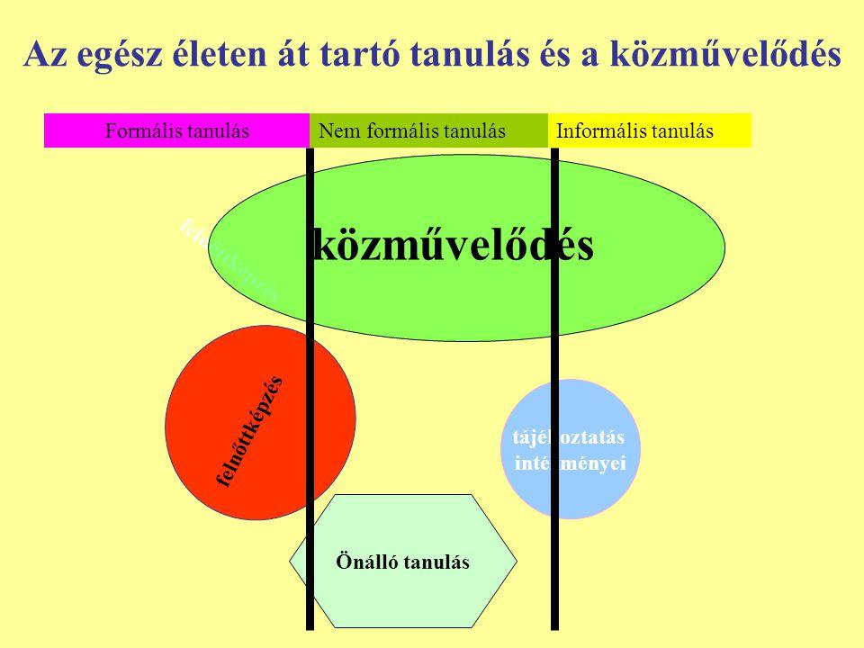 Önálló tanulás Az egész életen át tartó tanulás és a közművelődés Nem formális tanulásInformális tanulás felnőttképzés közművelődés tájékoztatás intéz