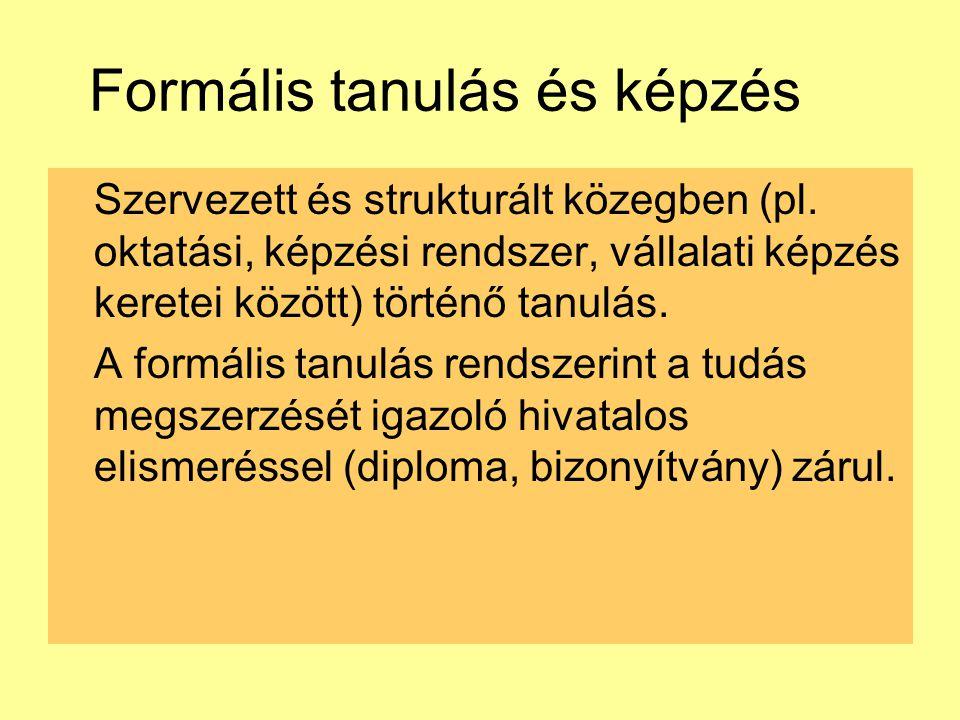 Formális tanulás és képzés Szervezett és strukturált közegben (pl. oktatási, képzési rendszer, vállalati képzés keretei között) történő tanulás. A for