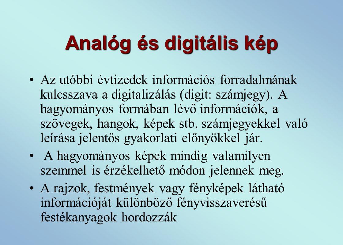 Analóg és digitális kép Az utóbbi évtizedek információs forradalmának kulcsszava a digitalizálás (digit: számjegy).
