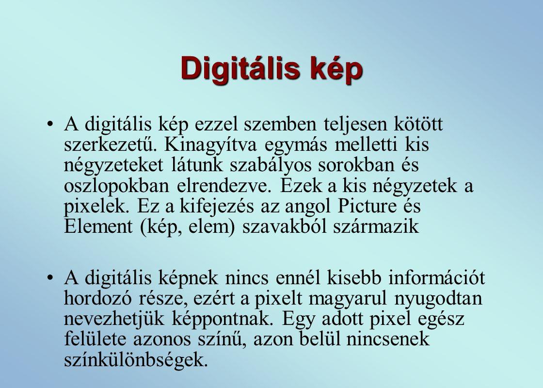Digitális kép A digitális kép ezzel szemben teljesen kötött szerkezetű.