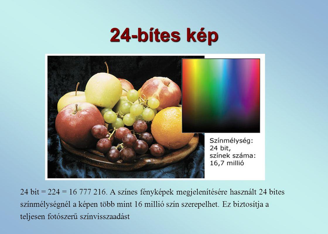 24-bítes kép 24 bit = 224 = 16 777 216.