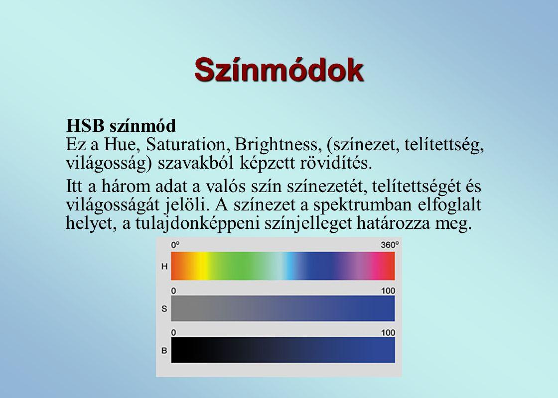 Színmódok HSB színmód Ez a Hue, Saturation, Brightness, (színezet, telítettség, világosság) szavakból képzett rövidítés.