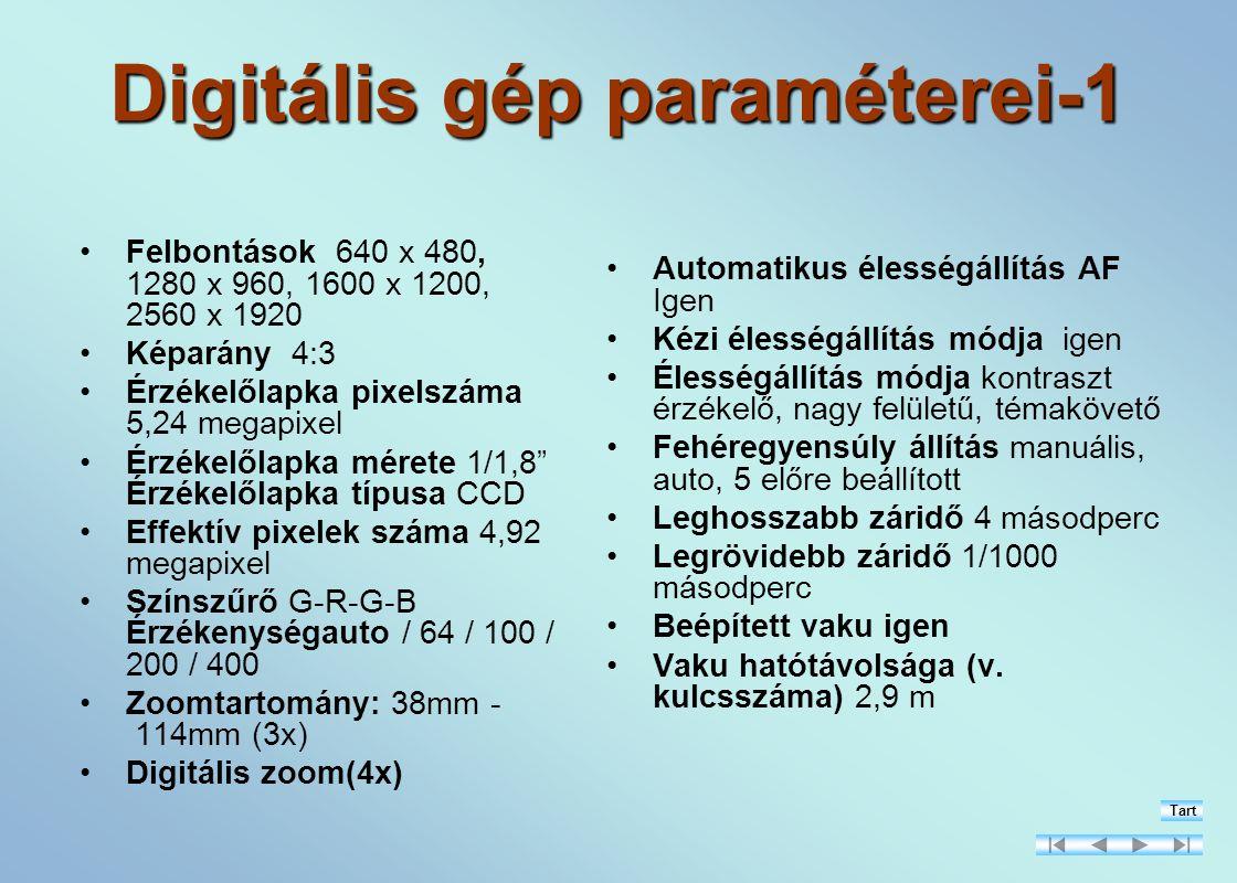 Digitális gép paraméterei-1 Felbontások 640 x 480, 1280 x 960, 1600 x 1200, 2560 x 1920 Képarány 4:3 Érzékelőlapka pixelszáma 5,24 megapixel Érzékelőlapka mérete 1/1,8 Érzékelőlapka típusa CCD Effektív pixelek száma 4,92 megapixel Színszűrő G-R-G-B Érzékenységauto / 64 / 100 / 200 / 400 Zoomtartomány: 38mm - 114mm (3x) Digitális zoom(4x) Automatikus élességállítás AF Igen Kézi élességállítás módja igen Élességállítás módja kontraszt érzékelő, nagy felületű, témakövető Fehéregyensúly állítás manuális, auto, 5 előre beállított Leghosszabb záridő 4 másodperc Legrövidebb záridő 1/1000 másodperc Beépített vaku igen Vaku hatótávolsága (v.