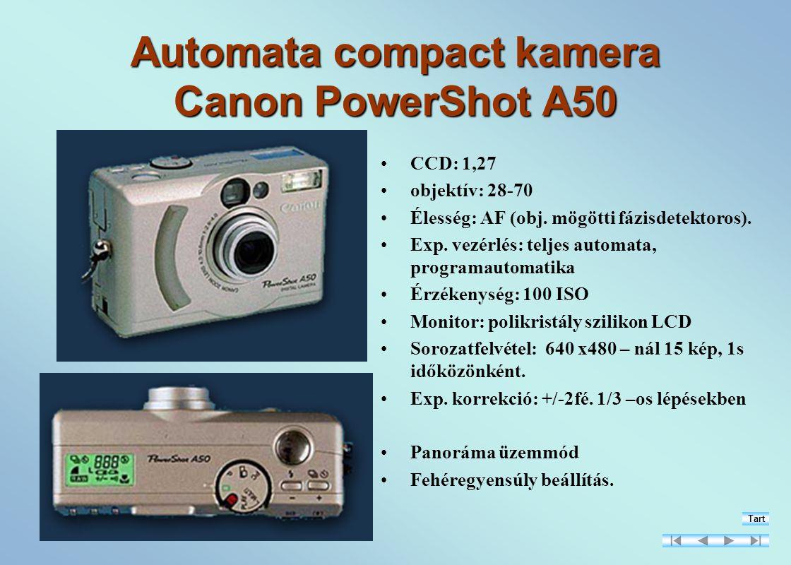 Automata compact kamera Canon PowerShot A50 CCD: 1,27 objektív: 28-70 Élesség: AF (obj.