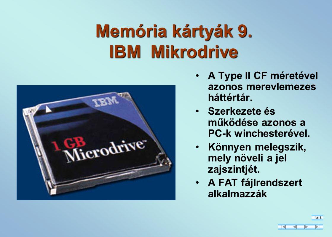 Memória kártyák 9.IBM Mikrodrive A Type II CF méretével azonos merevlemezes háttértár.