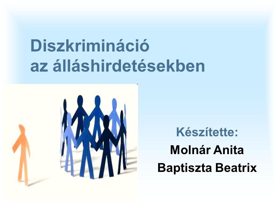 07/11/09 Diszkrimináció az álláshirdetésekben Készítette: Molnár Anita Baptiszta Beatrix