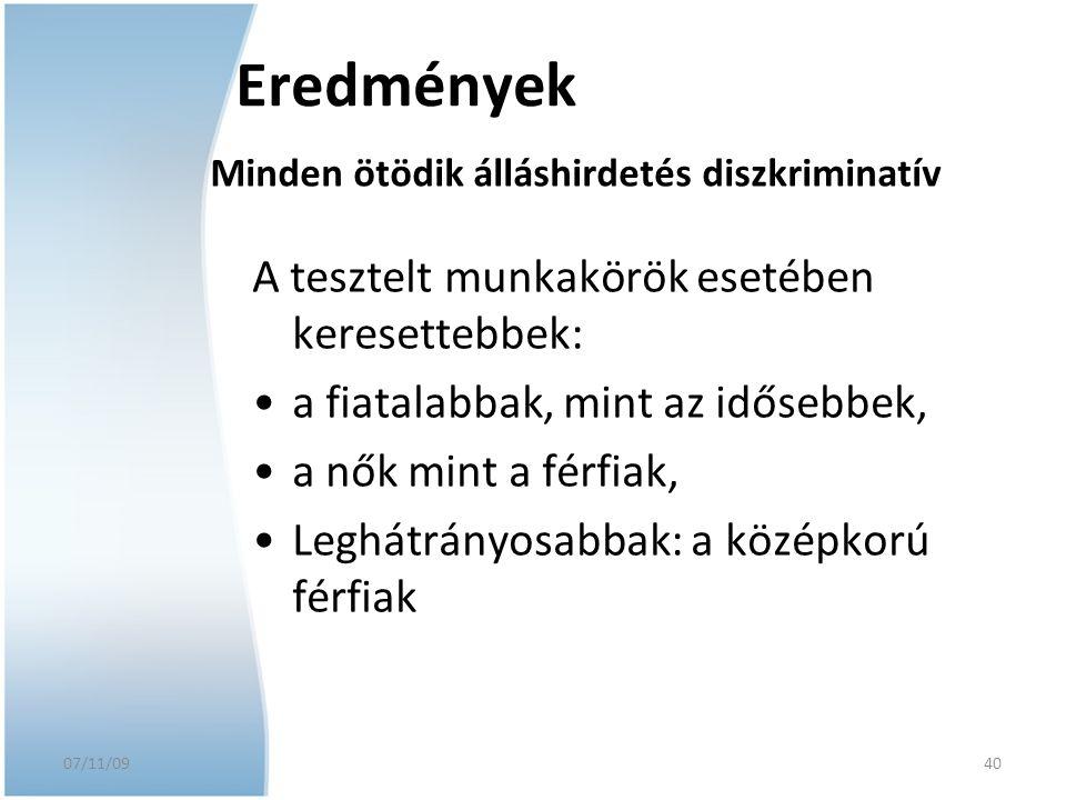 07/11/09 A tesztelt munkakörök esetében keresettebbek: a fiatalabbak, mint az idősebbek, a nők mint a férfiak, Leghátrányosabbak: a középkorú férfiak