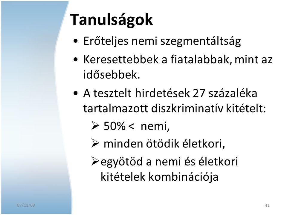 07/11/09 Tanulságok Erőteljes nemi szegmentáltság Keresettebbek a fiatalabbak, mint az idősebbek. A tesztelt hirdetések 27 százaléka tartalmazott disz